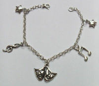 Theatrical Charm Bracelet: Sterling Silver Charms